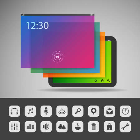 Tablet with Layers and Icons - Business Vector Illustration  Vector