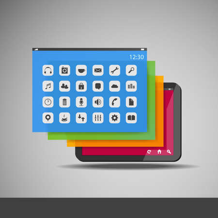 cellphone icon: Tablet with Layers and Icons Illustration