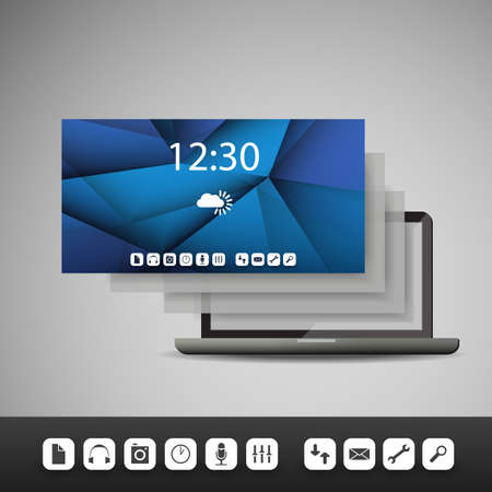 Laptop with Layers and Icons - Business Vector Illustration Vector