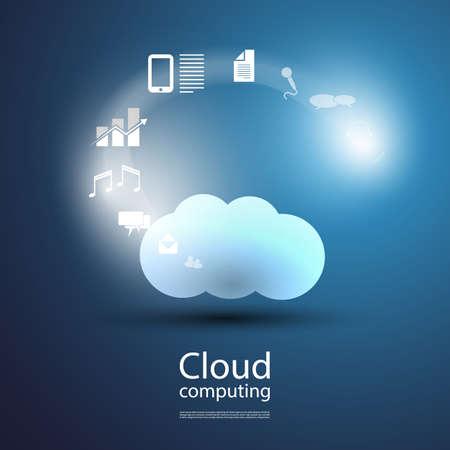 fondo tecnologia: Nube concepto de la inform�tica Vectores
