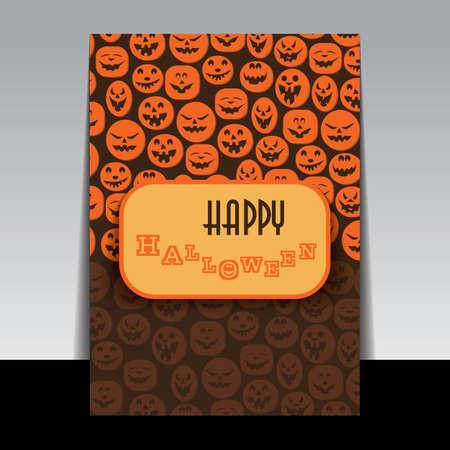 pumpkin head: Happy Halloween Card Illustration