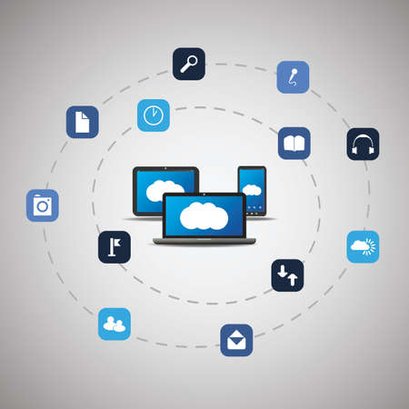 computer networking: Cloud Computing Concept Illustration