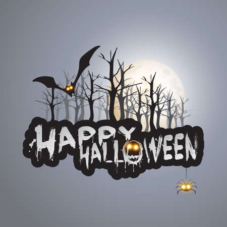 happy halloween: Happy Halloween Card - Vector Illustration