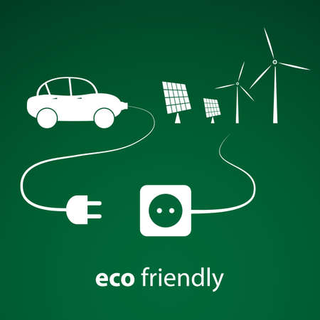 car plug: Eco Energy - Vector Illustration