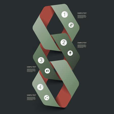 circular chain: Paper Ribbon Infographics Design Illustration
