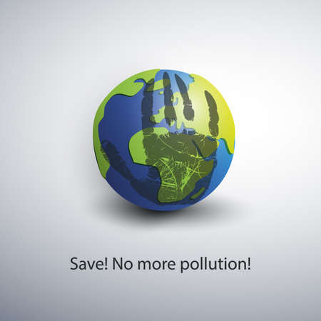 stop global warming: Save the World - Eco Concept Design Illustration