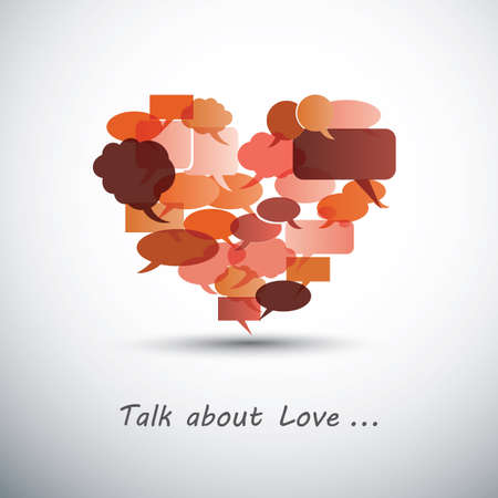 Talk about Love - Heart Made of Speech Bubbles Vector