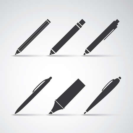 Set of Writing Tool Illustrations Vector