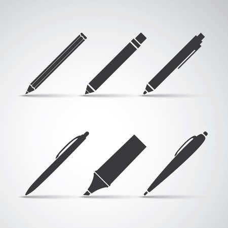 Set of Writing Tool Illustrations Illustration