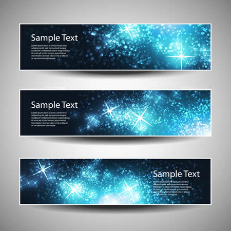 headers: Set of Horizontal Christmas, New Year Banners Illustration