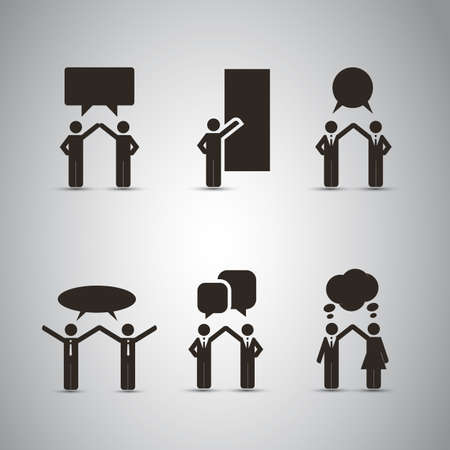 People Icons with Speech Bubbles Vector