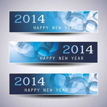 Set of Horizontal Christmas or New Year Banners - 2014 Vector