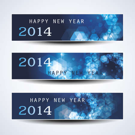Set of Horizontal Christmas or New Year Banners - 2014 Stock Vector - 23643881