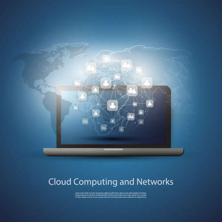 infraestructura: Nube concepto de la informática Vectores