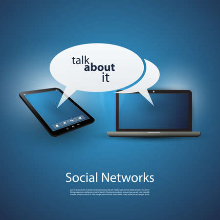 Talk About It - Cloud Computing and Social Networks Concept Vector