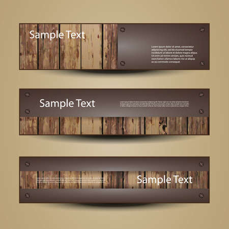 Banner Or Header Designs with Wooden Surface Vector