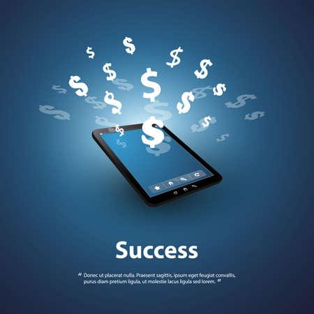 バンキング: 成功 - 売買するオンライン - グラフィック デザイン コンセプト  イラスト・ベクター素材