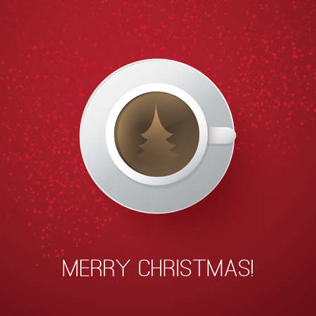 Merry Christmas Card with Coffee Cup Vector