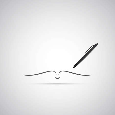Notizbuch und Stift Icon Design Standard-Bild - 24059692