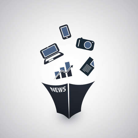 in fact: Newspaper Icon Design - Technology, Devices, Economy Illustration