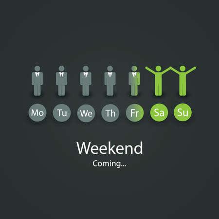 Am Wochenende kommt bald Illustration Vektorgrafik