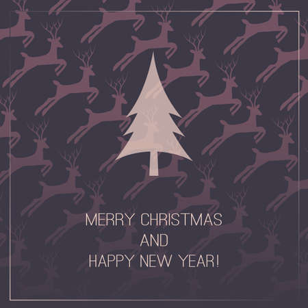 Christmas Card with Deers Background Vector
