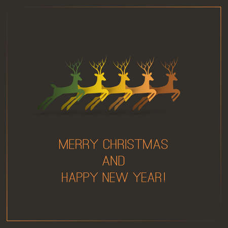 Christmas Card with Deers Vector