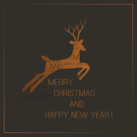 Christmas Card with Deer Vector