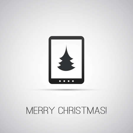 Christmas Card with Tablet, E-Book Reader Vector