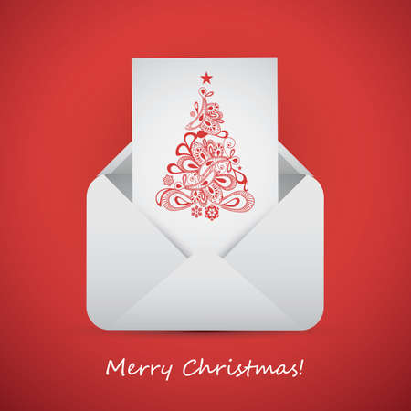 Best Wishes from an Envelope - Christmas Card Vector