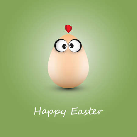 crazy face: Funny Chicken Egg - Happy Easter Card
