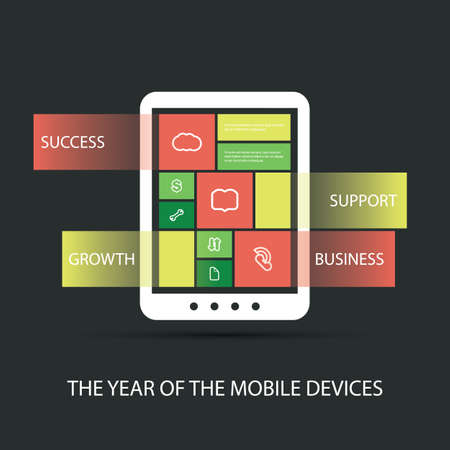 The Year of the Mobile Devices - Flat Style Tablet Design Vector