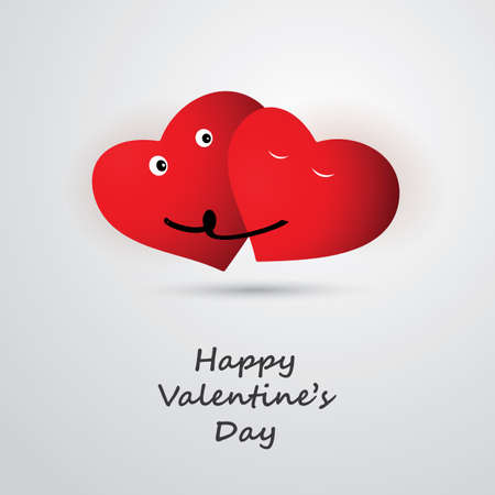 two hearts: Valentines Day Card Design - Template Illustration for Your Greeting Card