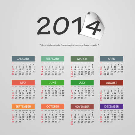 Calendar 2014 - Vector Illustration Design Vector