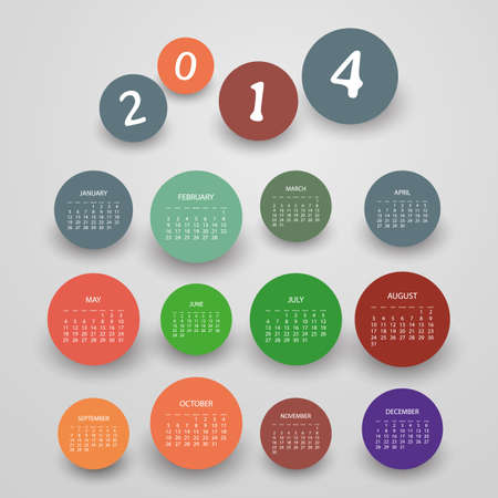 Calendar 2014 - Vector Illustration Design  Stock Vector - 24987740