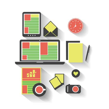 Business, Job, Office - Flat Icon Design Set Vector