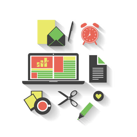 Business, Home, Office - Flat Icon Design Set Vector