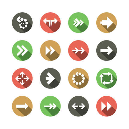 Set of Flat Arrow Icon Designs Vector
