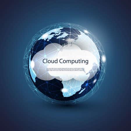 Global Networks, Cloud Computing - Illustration for Your Business Ilustração Vetorial