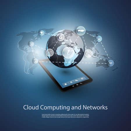 전세계에: 글로벌 네트워크, 클라우드 컴퓨팅 - 귀하의 비즈니스에 대 한 그림 일러스트