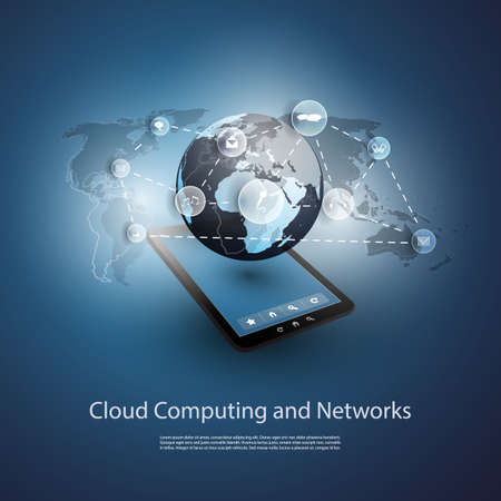 data flow: Global Networks, Cloud Computing - Illustration for Your Business Illustration