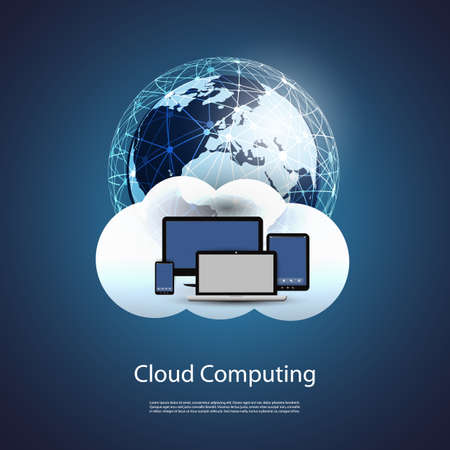 endpoint: Global Networks, Cloud Computing - Illustration for Your Business Illustration