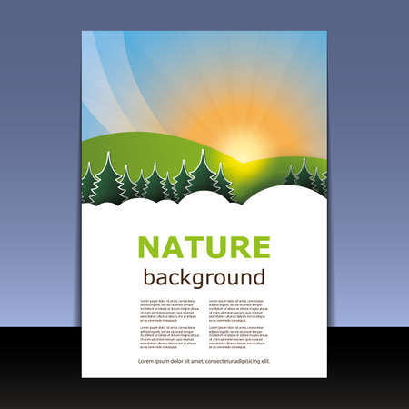 Flyer or Cover Design - Nature, Forest, Mountain, Sunset Vector