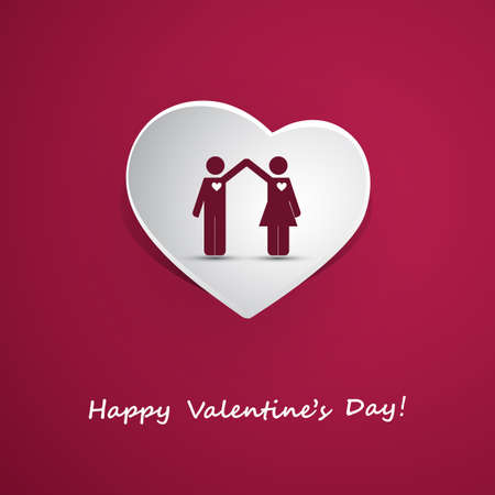Valentines Day or Wedding Card Design with Couple Vector