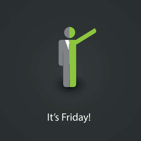 end of a long day: Its Friday - Design Concept Illustration
