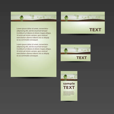 Stationery Template, Corporate Image Design with Landscape and Trees Vector