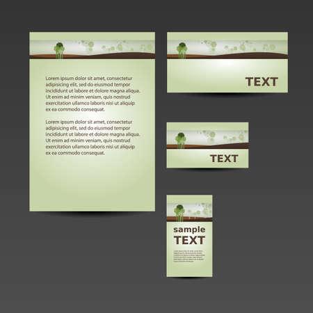 imagen corporativa: Stationery Template, Dise�o de Imagen Corporativa con el paisaje y los �rboles