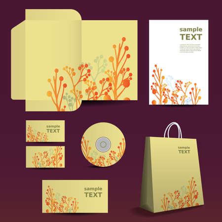 cd label: Stationery Template, Corporate Image Design with Flowers