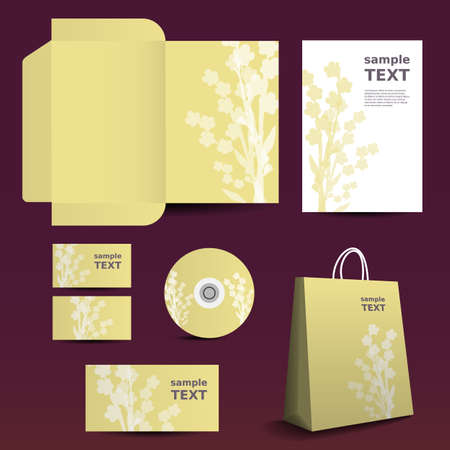 Stationery Template, Corporate Image Design with Flowers Vector