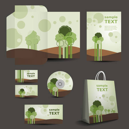 Stationery Template, Corporate Image Design - Nature Style Vector
